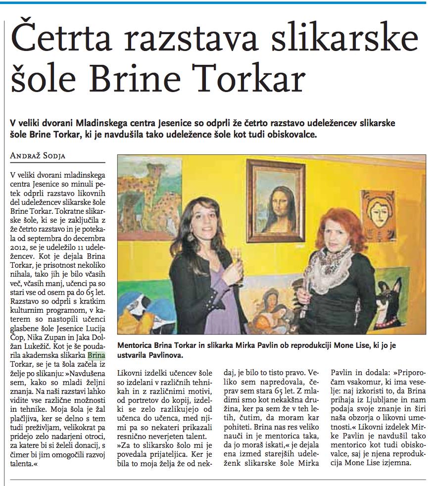 Četrta razstava slikarske šole (Jeseniške novice, 25.1.2013)
